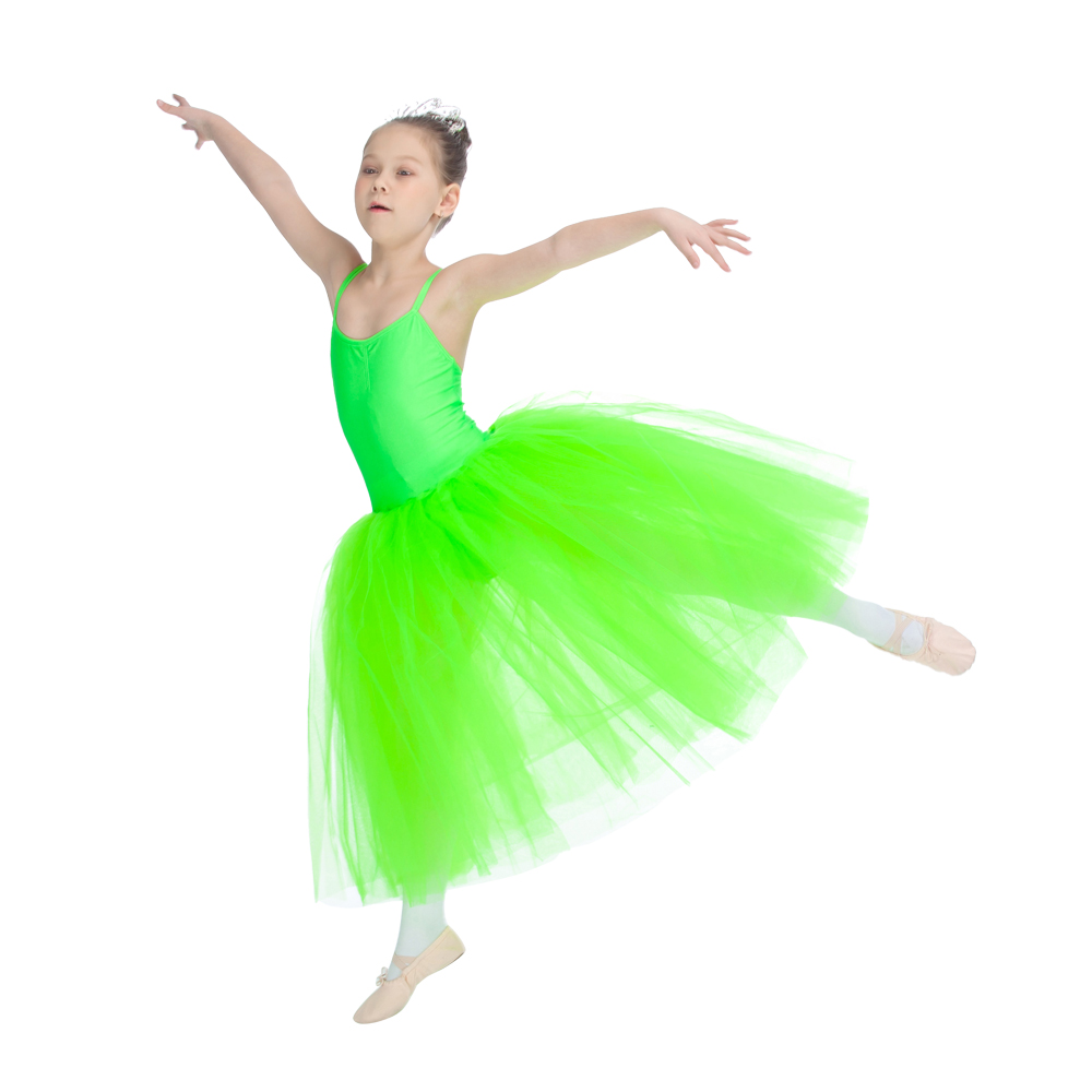 ed5b92722121 Romantic Tutu Dress Green Nylon Lycra Cross Back Leotard Soft Tulle ...