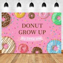 Neoback Donut First Birthday Party Background Photography Baby Cake Girl Grow Up Pink Backdrops For Photo Studio