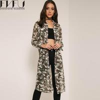 Fashion 2016 Women Basic Coats Spring Autumn Loose Camouflage Printed Long Jacket Perspective Casual Outwear Coats