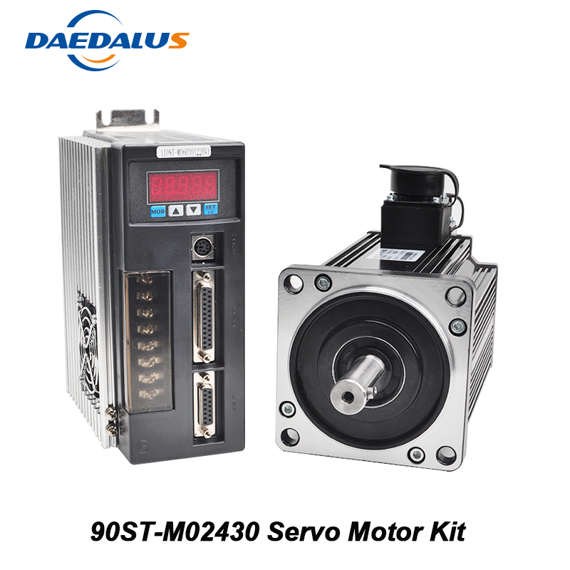 90ST M02430 AC Servo Motor Kit 0.75KW Single Phase Servo Motor Permanent Magnet Matched Driver CNC Drive With Encoder Cable