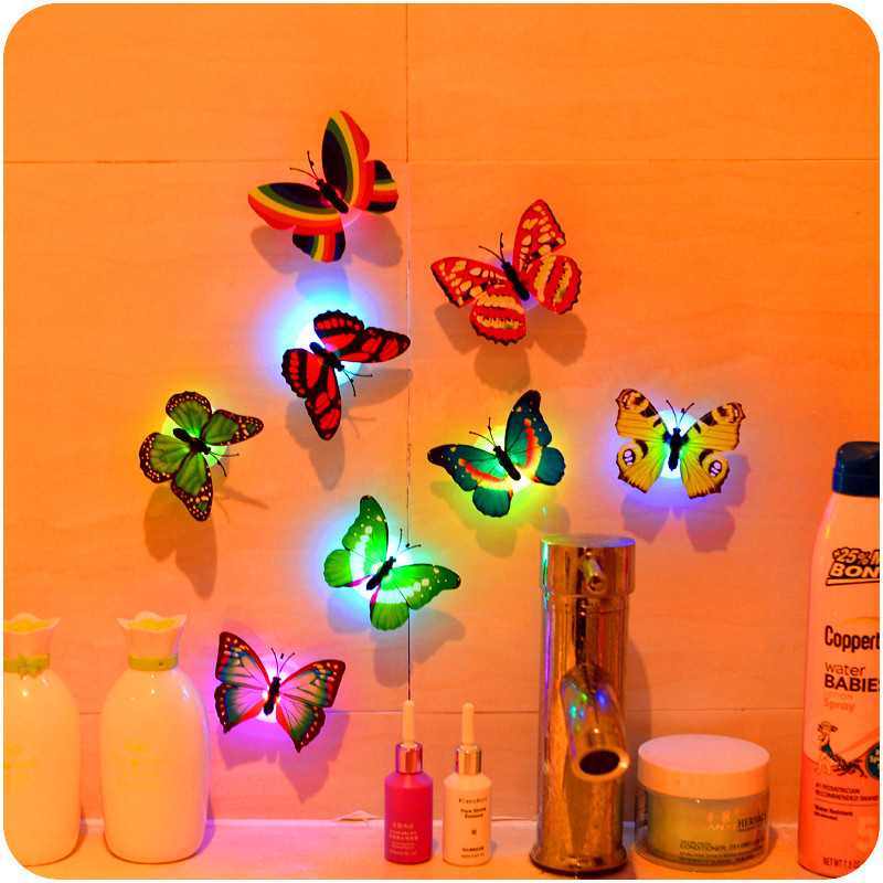 Mrosaa HOT 1 Pcs Beautiful Butterfly Wall Stickers LED Night Light Lamp With Suction Christmas Wedding Home Decor sticky note