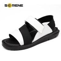 سيرين 2018 جديد وصول الصيف الصنادل جلد البقر الأسود الأبيض كبيرة الحجم 38-44 الوجه يتخبط ارتداء resistan أحذية الرجال الأحذية الذكور 2172