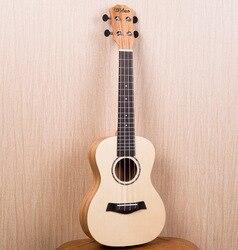 Concert Ukulélé 23 pouce Électrique Guitare 4 Cordes Ukulélé Guitarra handcraf Bois Picea Asperata Acajou Blanc Mini Uke