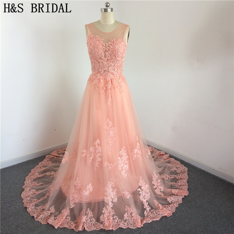 Gorgeous Sleeveless robe de soiree Lace Prom Party   Dress   vestido de festa 2017 Tulle Orange color long   bridesmaid     dress