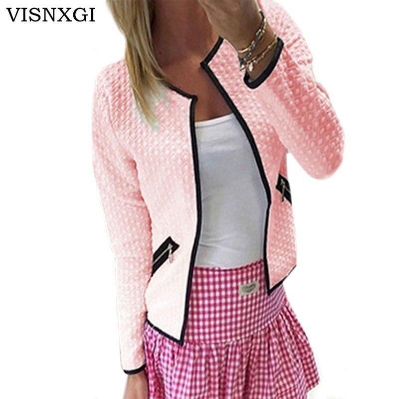 VISNXGI Women Coat Short Jacket Fashion Ladies Long Sleeve Zip Up Cardigan Coat Femme OL Workwear Outerwear Mujer Basic Jackets