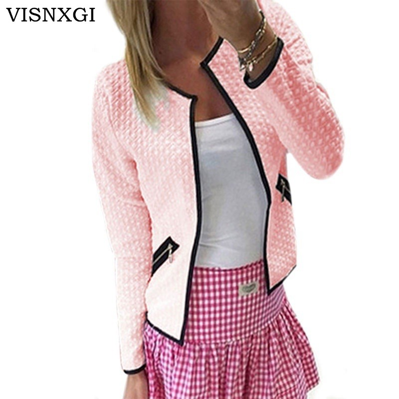 VISNXGI Women Coat Short   Jacket   Fashion Ladies Long Sleeve Zip Up Cardigan Coat Femme OL Workwear Outerwear Mujer   Basic     Jackets