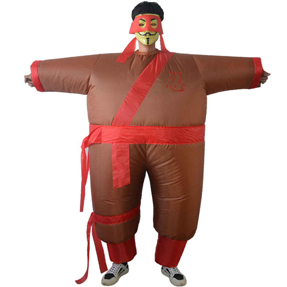 Creative Toys Halloween Carnival Party Christmas Japanese Samurai Cosplay Dress Up Inflatables Party Spoof Brown Costume Adult