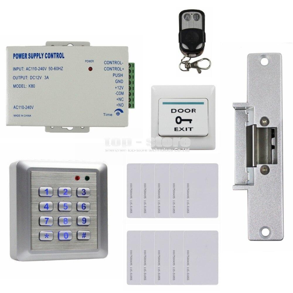 DIYSECUR Waterproof 125KHz RFID Reader Password Keypad Door Access Control Security System Strike Lock Door Lock Remote Control
