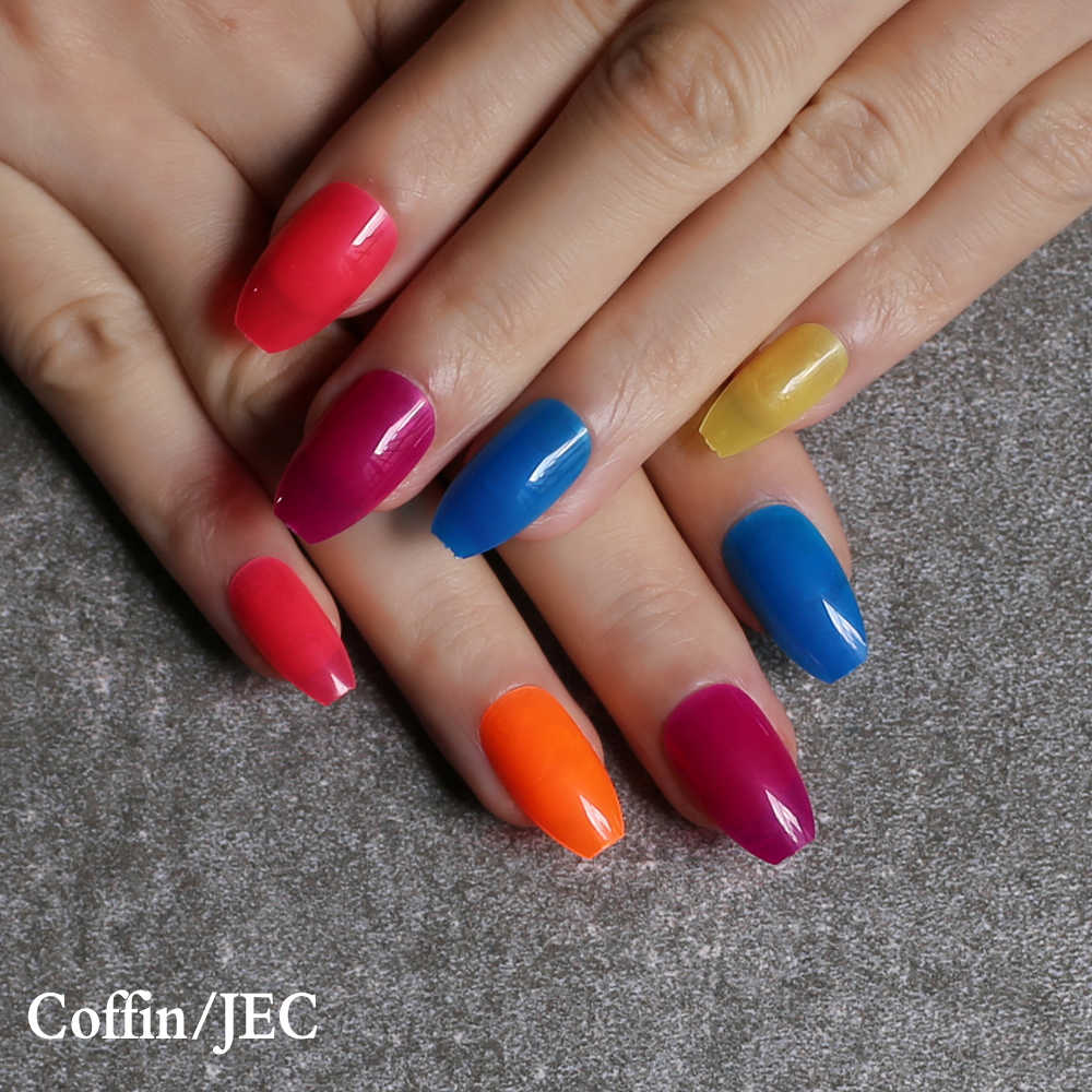 24pcs Stiletto Glossy Jelly Nails Red Pink Medium Fake Nails Blue Jelly Coffin Yellow False Nail Candy Color Orange Transparent Aliexpress