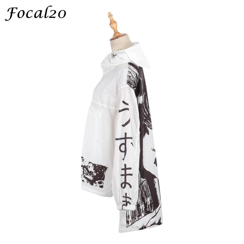 Focal20 Streetwear Junji Itou Manga Print Oversize Women Hooded Jacket Anime Hoodie Pullover Jacket Coat Outwear Streetwear 2