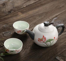 Hot sales Ceramic TeaSet, Includes 1 pot 2 cups, Chinese characteristics Lotus flower teapot teacup, kung fu teaset gift