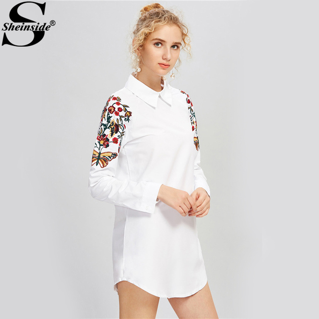 Womens   White High Low Button Up Insects Embroidered Shirt Online ?