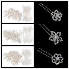 20pcs Wedding Crystal Simulated Pearl Flowers U Shaped Hair Pins Bridal Women Hairpins Clips Jewelry Accessories Wholesale