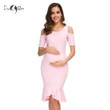 Платье для беременных с короткими рукавами, рюшами и открытыми плечами