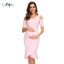 Cold Shoulder Short Sleeve Ruffles Mermaid Baby Shower Maternity Dresses Womens Pregnancy Side Ruched Pregnant Clothing