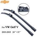 Qeepei lâmina de limpeza do carro para volkswagen vw golf 5 2003-2005 24 ''+ 19'' acessórios auto de borracha natural limpadores de metal base, cpa108-4