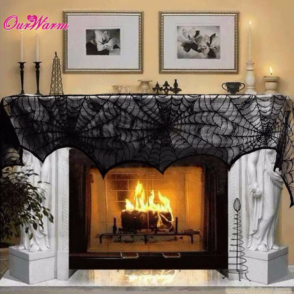 halloween decoration cobweb fireplace scarf black lace spider web mantle for home halloween party decoration halloween ornaments - Discount Halloween Decor