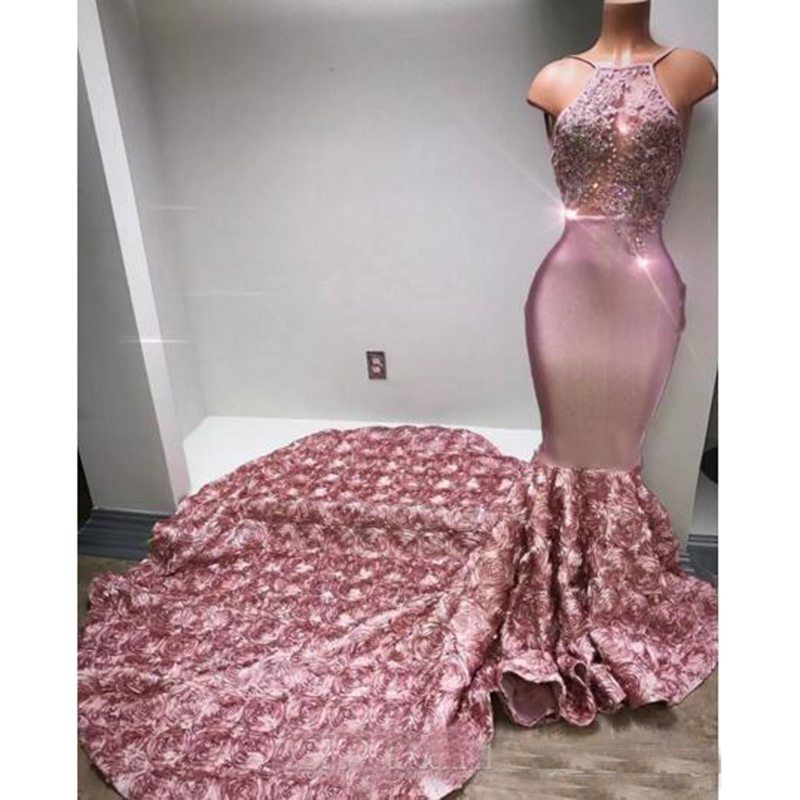 Cascading Ruffles Rose Pink Long   Prom     Dresses   Halter Sexy Back Sweep Train Appliques Beaded Sequined Mermaid Evening   Dresses