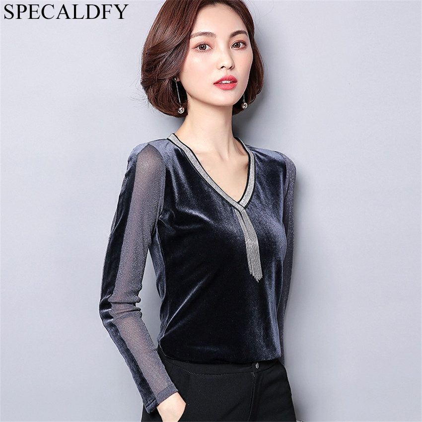 2019 Autumn Winter Velvet Blouse Womens Tops And Blouses High Quality Fashion Women Sexy Sheer Black Mesh Blouse Shirt Blusa