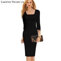 Chu Ni Mới Bán Phụ Nữ Thanh Lịch Casual Dress Tartan Quảng Trường Cổ áo Mặc Nữ Căng Bút Chì Vỏ Bọc Dress Office Dress 3X L019