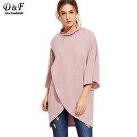 Dotfashion Korean Fashion Clothing Womens Tops And Blouses Autumn Womens Shirts Pink High Neck Wrap High