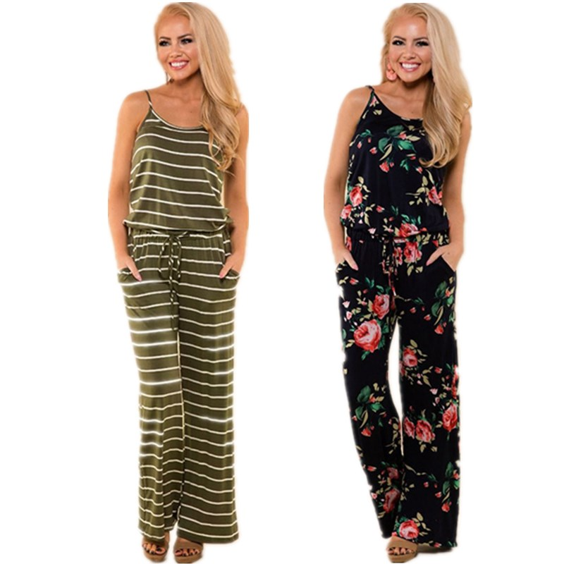 Lace Up Floral Print Women   Jumpsuit   2018 Summer Casual Loose Style Wide Leg Girls Beach   Jumpsuits   Rompers Female Overalls