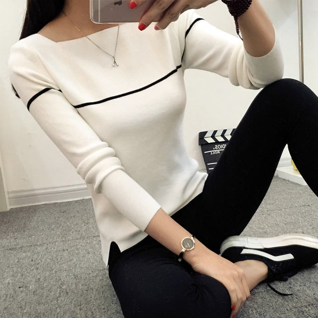 HAO HE SHEN Insert 2018 new spring autumn knit female Korean striped shirt collar sweater slim black and white female