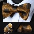 Bzd01z naranja marrón Dot hombres seda auto pajarita pañuelo gemelos set Pocket Square partido clásico de la boda