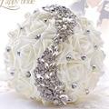 Бесплатная Доставка Свадебные цветы Белый Невесты Свадебные Букеты искусственные Розы Свадебный Букет свадебные цветы свадебные букеты