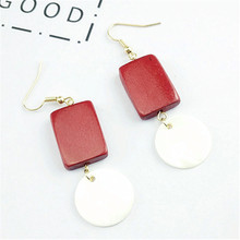 Free shipping The new south Korean temperament is the red wood simple geometric shells together fashion stud earrings for woman