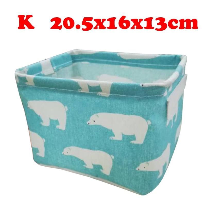 Настольный ящик для хранения с милым принтом, водонепроницаемый органайзер, хлопок, лен, корзина для хранения мелочей, шкаф, нижнее белье, сумка для хранения - Цвет: K
