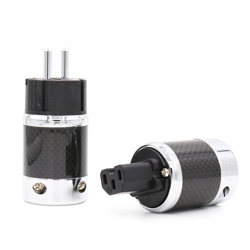 Free shipping one pair  style Carbon Fiber Copper Rhodium Plated Schuko EU AC Power Plug IEC Female free shipping one pieces sonar quest carbon fiber silver plated eu power plug