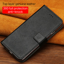 LANGSIDI Flip mobile phone shell wallets calf skin Genuine Leather magnetic buckle case for iPhone X XR xsmax hand-made cover
