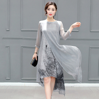 Vintage Floral Printed Women Dresses Fashion O Neck 3 4 Sleeves Female Summer Vestidos Plus Size
