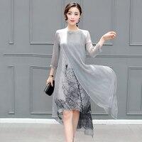 Vintage Floral Printed Women Dresses Fashion O Neck 3 4 Sleeves Female Summer Vestidos Plus Size