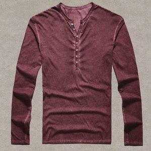 Image 4 - Brand Designer Men Cotton Vintage Henry T Shirts Casual Long Sleeve High quality Men old color Cardigan T shirt  2018 hot sale