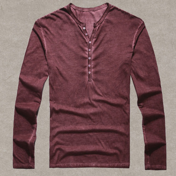 Brand Designer Men Cotton Vintage Henry T Shirts Casual Long Sleeve High quality Men old color Cardigan T shirt  2018 hot sale 6
