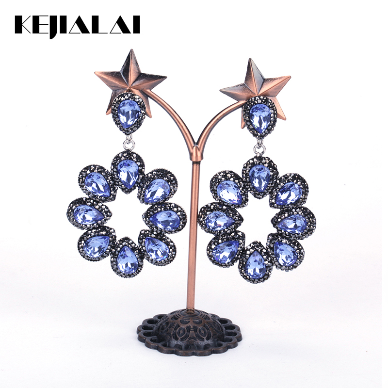 KEJIALAI Luxury Handmade Jewelry Sky Blue Water Drop Crystal Pave Rhinestone Big Hyperbole Long Drop Dangle Earrings For Women primanova ruby салфетница page 7