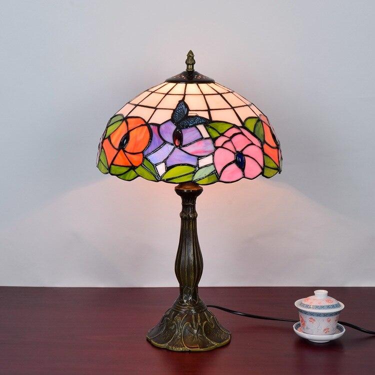 American retro butterfly flower art glass bedroom bedside lamp bar restaurant hotel Tiffany stained glass eyeshield Desk Lamps