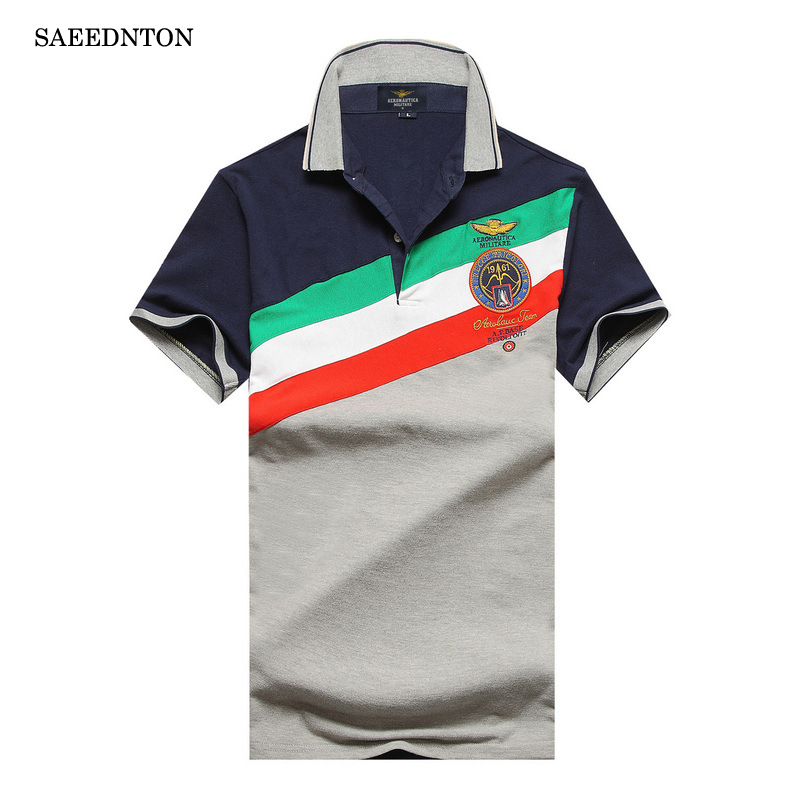 Polo   Shirt Men 2018 Summer New Men's Cotton Breathable Short Sleeve Embroidery   Polo   Shirts Homme Striped Air Force One Tops Tees