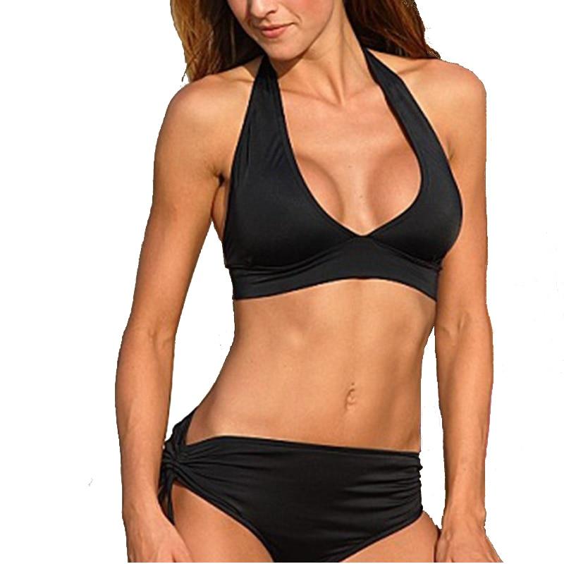 Bikini 2017 Push Up Swimwear Women Sexy Bikini Set Swimsuit Retro Bikini High Waist Black Bathing Suit Maillot De Bain Femme XL sexy swimwear push up bikini floral printed swimsuit high waist bikinis set maillot de bain bathing suit