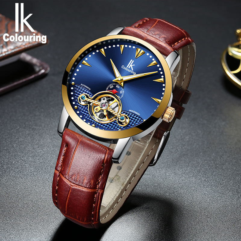 IK colouring Luxury Mens Watches Self-Wind Automatic Mechanical Watch Fashion Casual Genuine Leather Strap Wrist Watch for Man ik colouring mens watch automatic self wind mechanical watches for men watches luxury wristwatches stainless steel strap