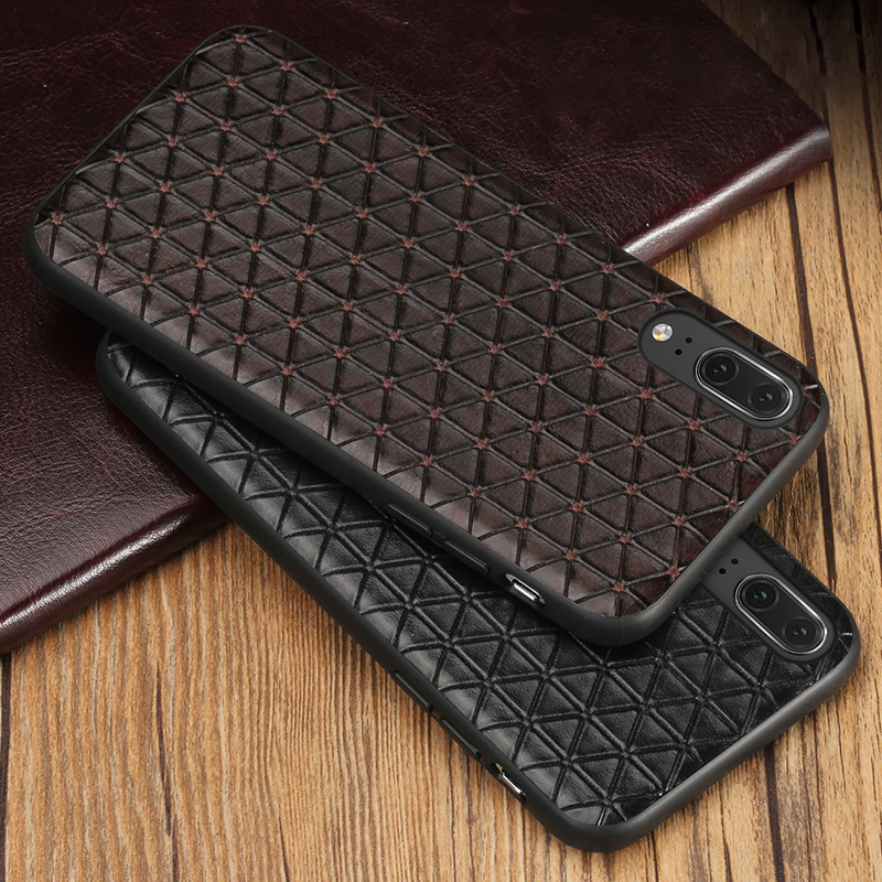 Genuine leather Phone Case For Huawei P10 P20 Lite Pro case Business Style Triangle Texture For Mate 9 10 pro Honor 9 10 Case in Fitted Cases from Cellphones Telecommunications