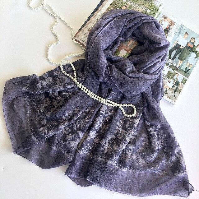 10 pzas/lote bufandas bordadas de estilo de la India para las mujeres moda Popular Solider Color musulmán Hijab Bandana y Pashmina para las señoras