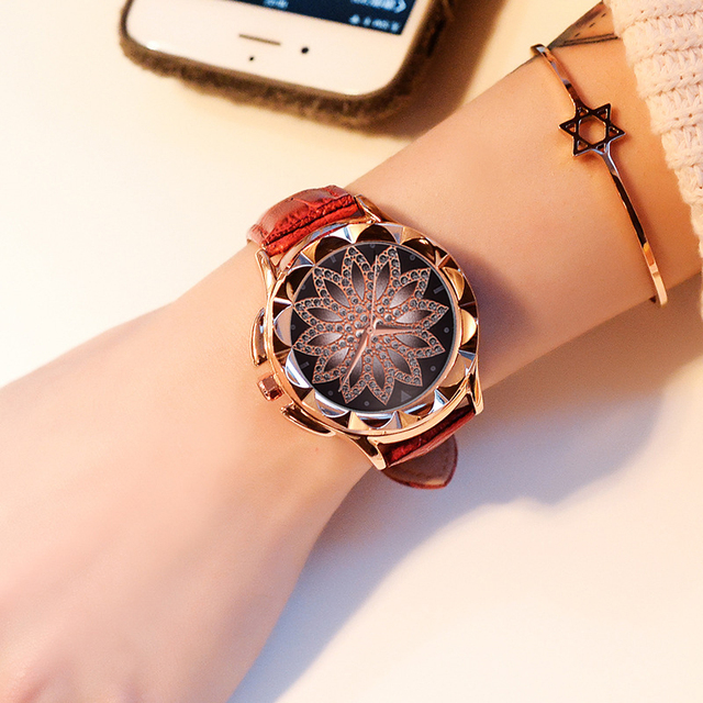 Luxury Brand Rose Gold Women Watch Fashion Casual Crystal Dress Wristwatch Leather Strap