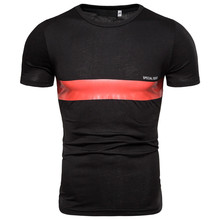 Stitching O-neck mens T-shirt fashion fitness casual S-2XL