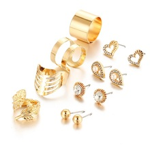 Fashion 8 Pcs/ Set New Gold Silver Crystal Heart Earrings for Women Color Water Drop Leaf Rings Engagement Jewelry Sets