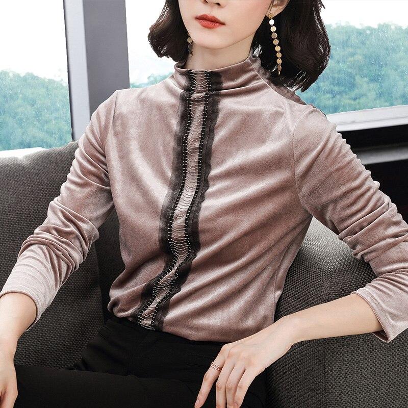 Blusa Elasticidad Vogue Slim Mujer Alto Otoño Manga Cuello Blusas Camisa 2018 Terciopelo Túnica Larga Tops Beading Moda Y Marrón caqui q5RXw