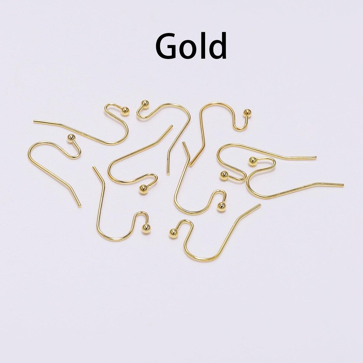 100 шт./лот, 21*16 мм, серебряные, золотые, бронзовые Крючки для сережек, застежки для самостоятельного изготовления ювелирных изделий - Цвет: Gold