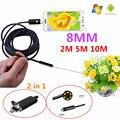 8mm Lens USB Endoscópio Android 2 M 5 M 10 M OTG PC Endoscopio Mini Câmera Endoscópio Inspeção À Prova D' Água Câmera Do Telefone 2 em 1